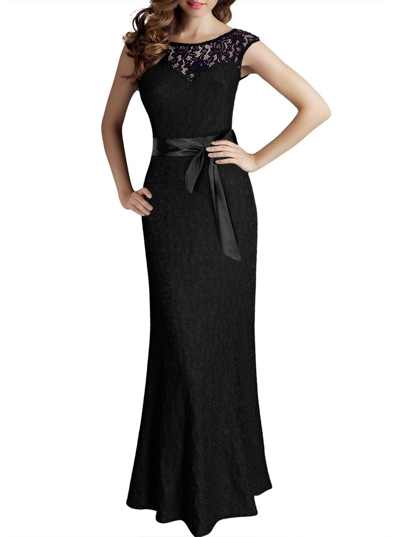 8807cf120a2 Miusol® Women s Elegant Sleeveless Halter Black Lace Bridesmaid Maxi Dress  at Amazon Women s Clothing store
