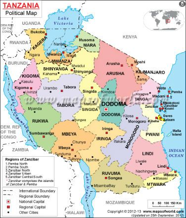 Tanzania On Africa Map.Tanzania Map Maps Africa African Countries Pinterest