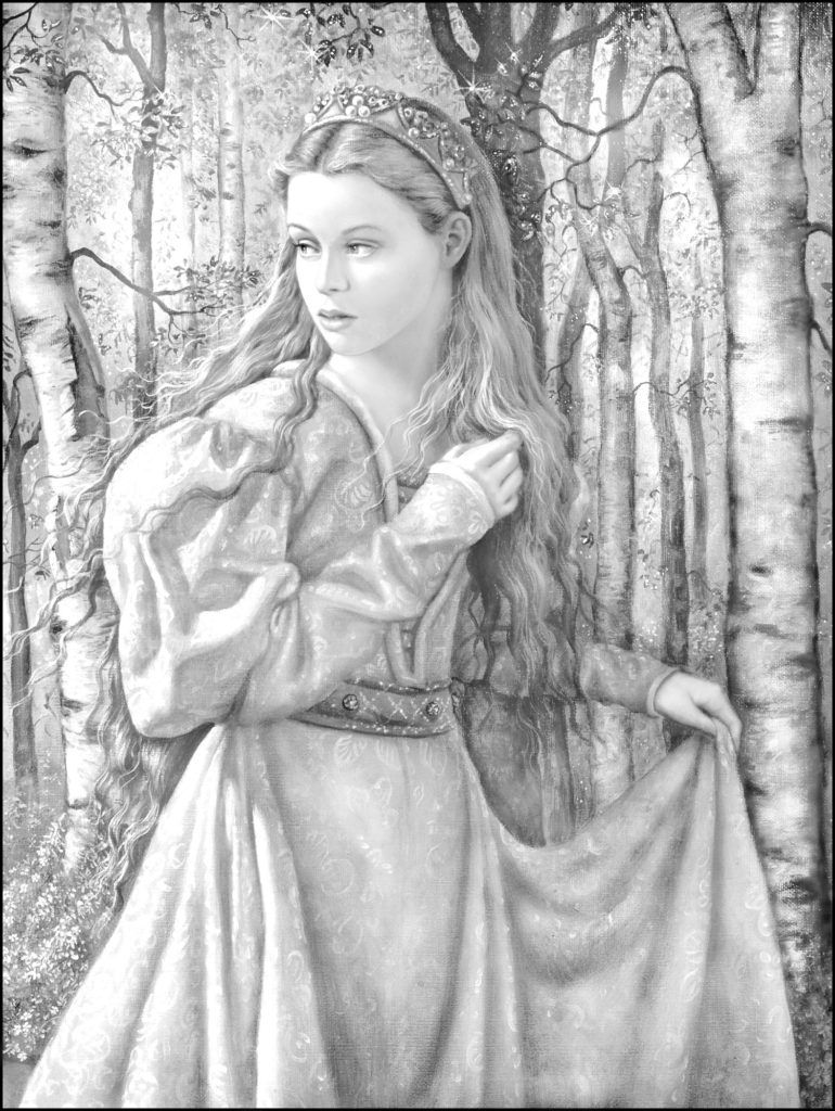 Girl In The Forest Coloring Books Ruth Sanderson Grayscale Coloring Books Grayscale Coloring Designs Coloring Books [ 1024 x 770 Pixel ]