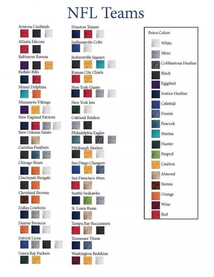 Nfl Teams Yarn Colors Nfl Team Colors Crochet Football