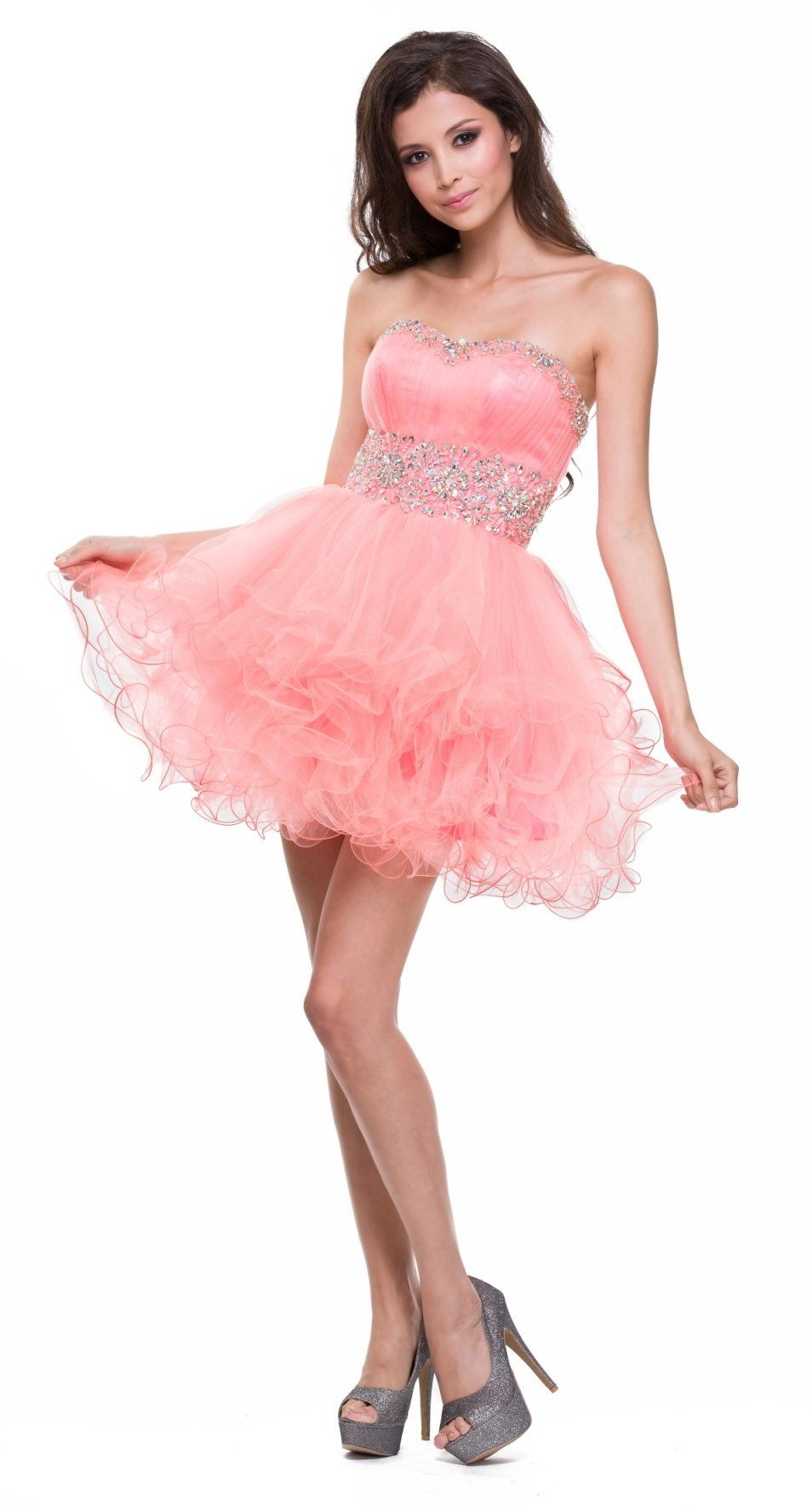 Strapless Sweetheart Coral Formal Dress Short Sequin Neckline Poofy ...