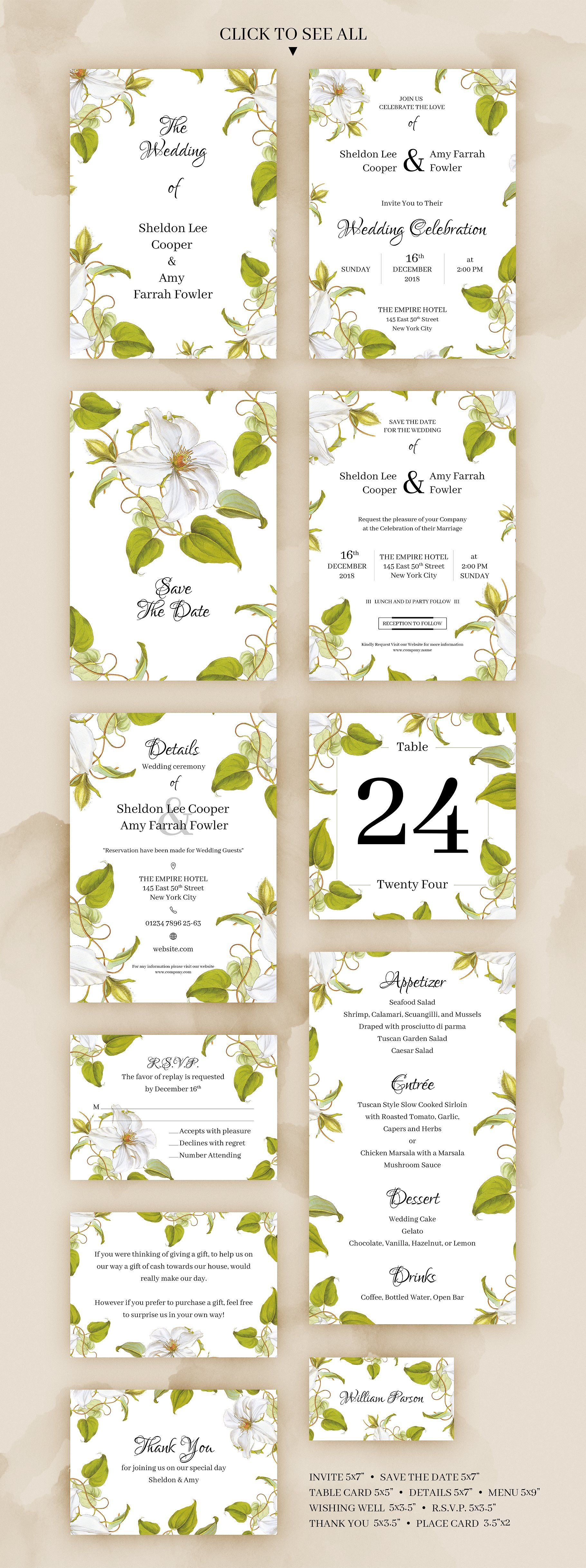 clematis wedding invitation place card table numbers and rsvp