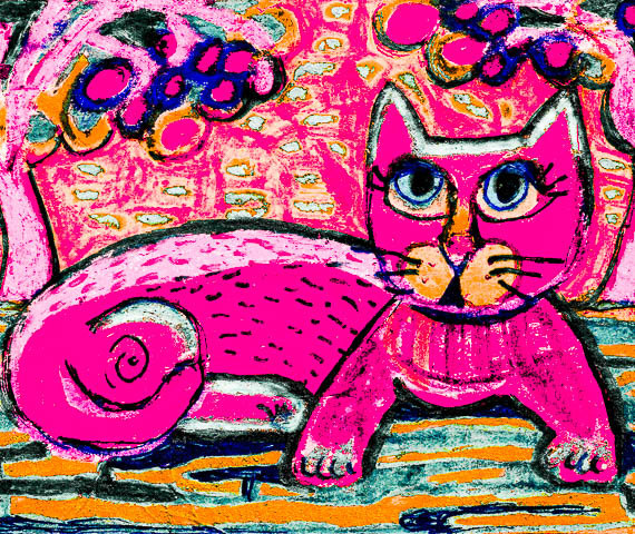 Pink Cat Print Whimsical Cat Art Teen Decor by AGirlAnOwlAndACat