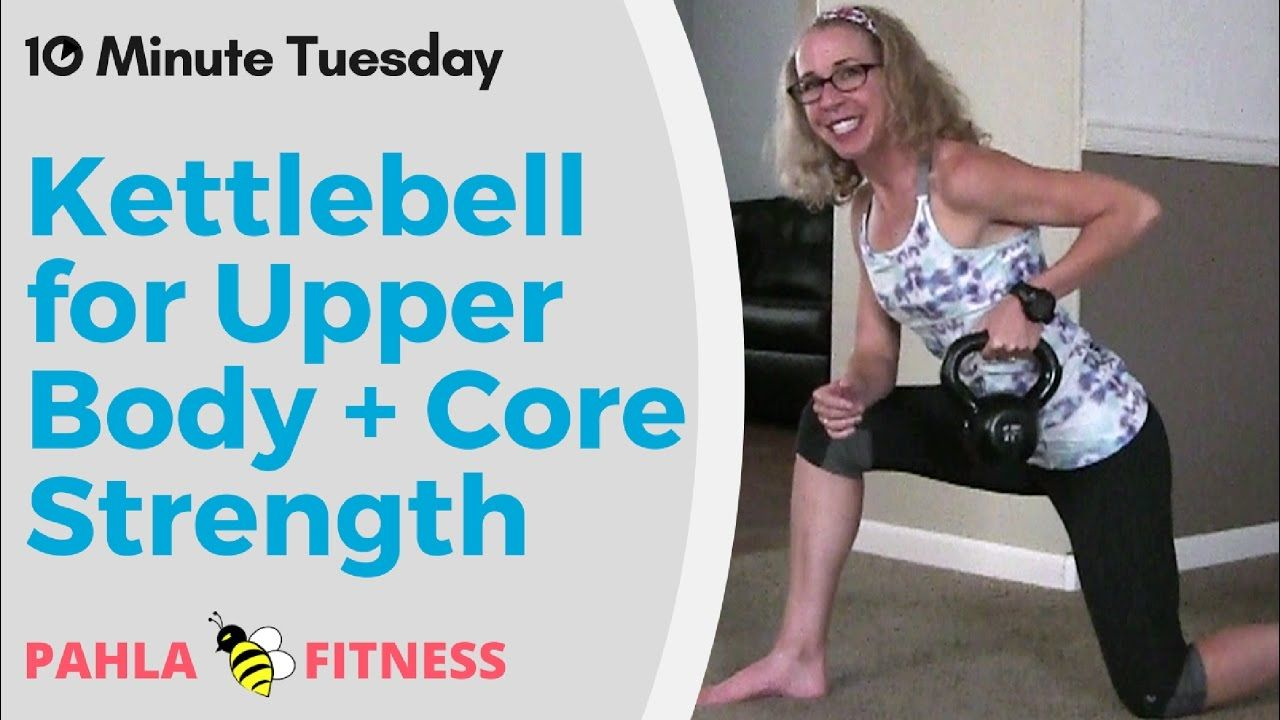 KETTLEBELL for UPPER BODY + CORE | Quick STRENGTH Workout for Women ... It doesn't take long to sculpt the ARMS and SHOULDERS you want - just TEN MINUTES with this great KETTLEBELL upper body and core STRENGTH workout!  We're working the chest, upper back, arms and shoulders while squeezing in some bonus AB exercises, too.  Find more FREE workout videos at www.PahlaBFitness.com