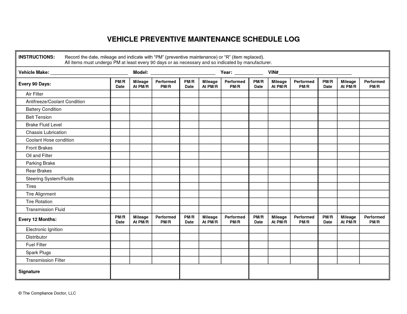 Vehicle Preventive Maintenance Schedule Log Automotive