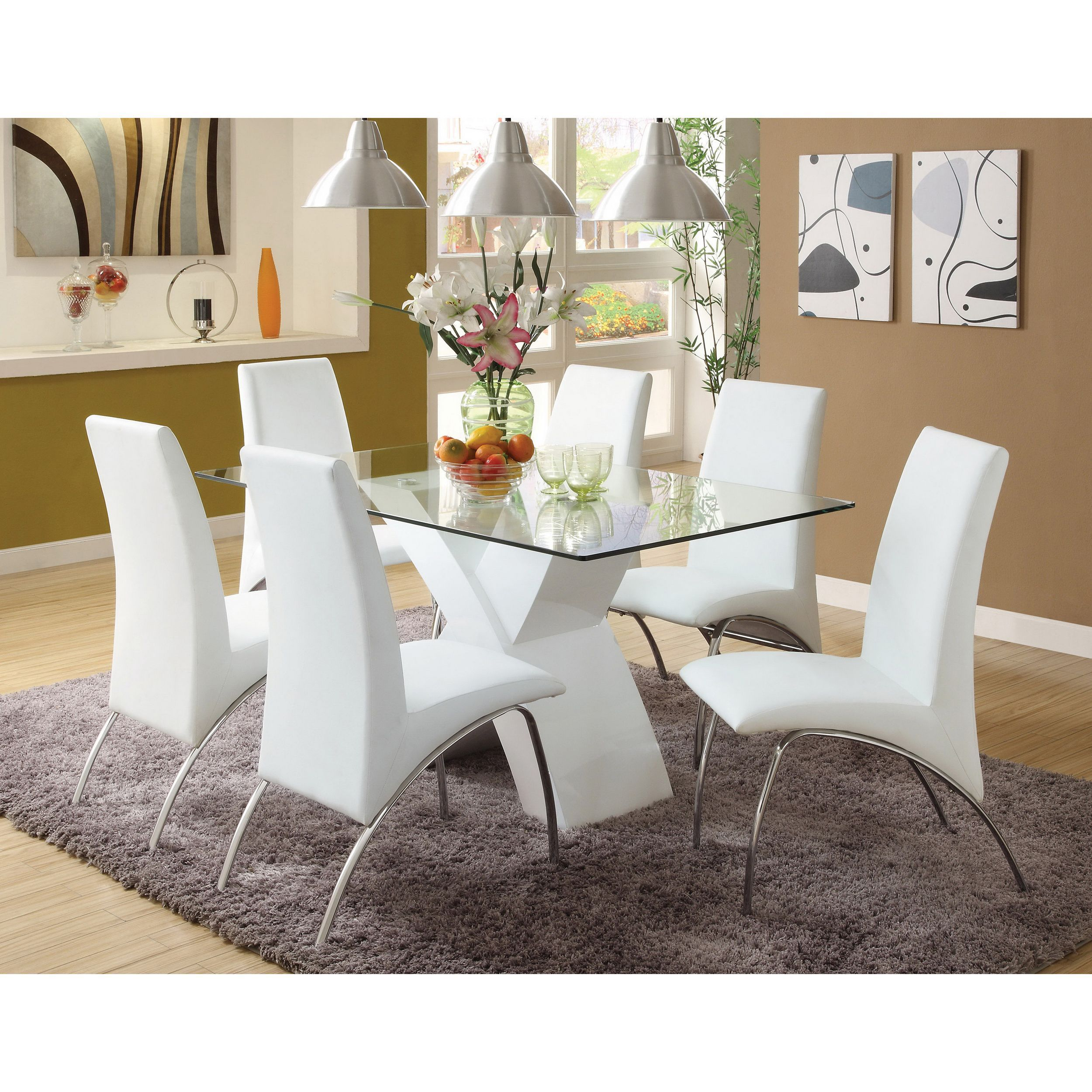 5923e4ce71 Furniture of America Chambers 7-piece Contemporary Glass Top Dining Set  (White), Size 7-Piece Sets