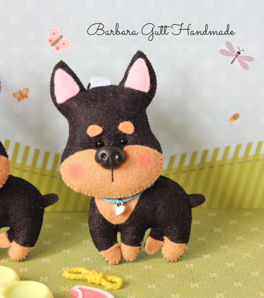 Piesek Filcowy Pies Pies Z Filcu Doberman Breloczki Felt Animals Handmade Character