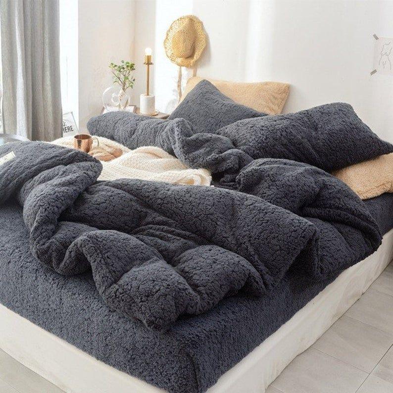 Corduroy Teddy Bear Fleece Super Soft Duvet Cover Set 4 Pieces Etsy Postelnoe Bele Bele