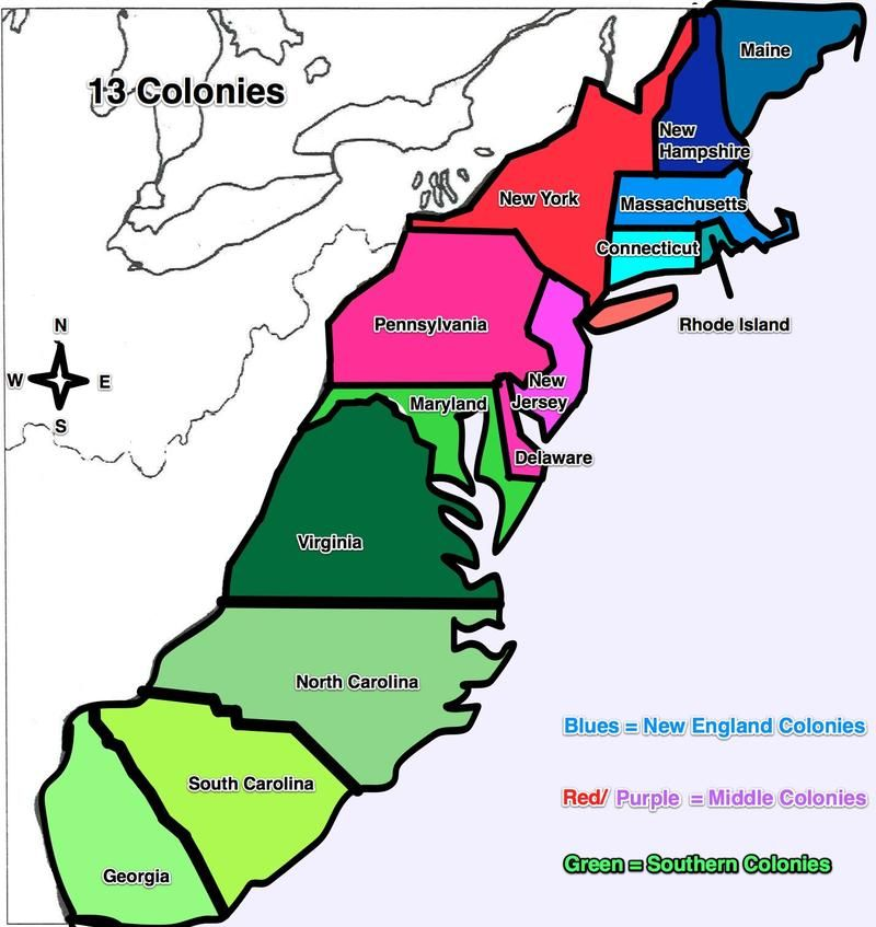 13 colonies map - | US History - Colonial | Pinterest
