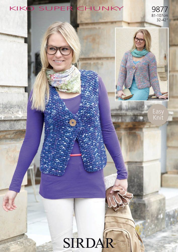 Cardigans with and without sleeves in Sirdar Kiko Super Chunky ...