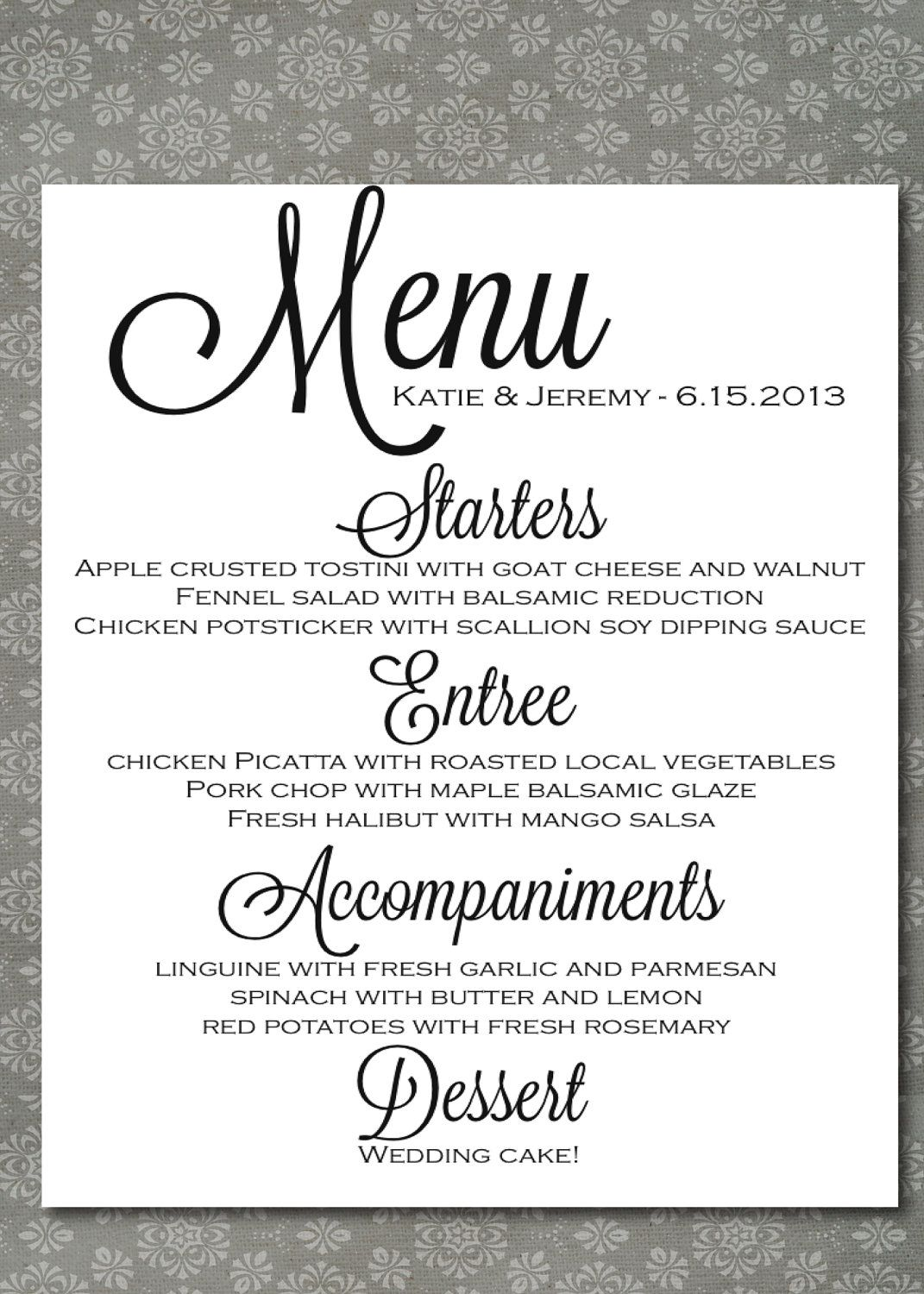 Printable Wedding Menu Script Elegance DIY, Print at
