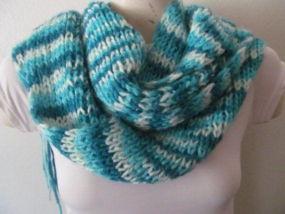Knit Turquoise Winter Scarf Knit Neck Warmer by zahraknitting, $29.90