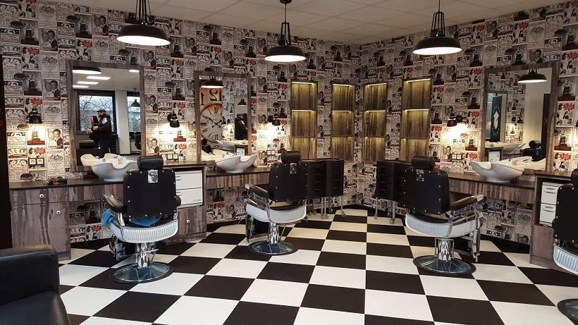 Man Cave Barber Dublin : Ayala furniture bespoke unit and elegant barber chairs. #salonideas
