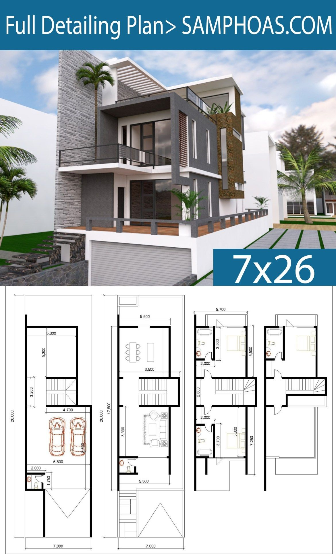 Modern House Plans With Land Size 7mx26m Samphoas Plansearch Modern House Plans Model House Plan House Design
