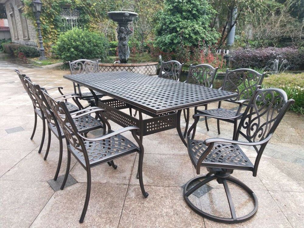9 Piece Outdoor Dining Set Rubaiyat Expandable Table Cast Aluminum Furniture Sunvuepatio Patio Outdoor Furniture Aluminium Garden Furniture