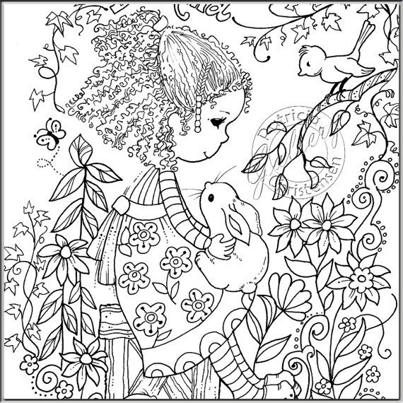Coloring Book Pages Digital Download Colored Pencils Gel Etsy Coloring Pages Coloring Books Cute Coloring Pages