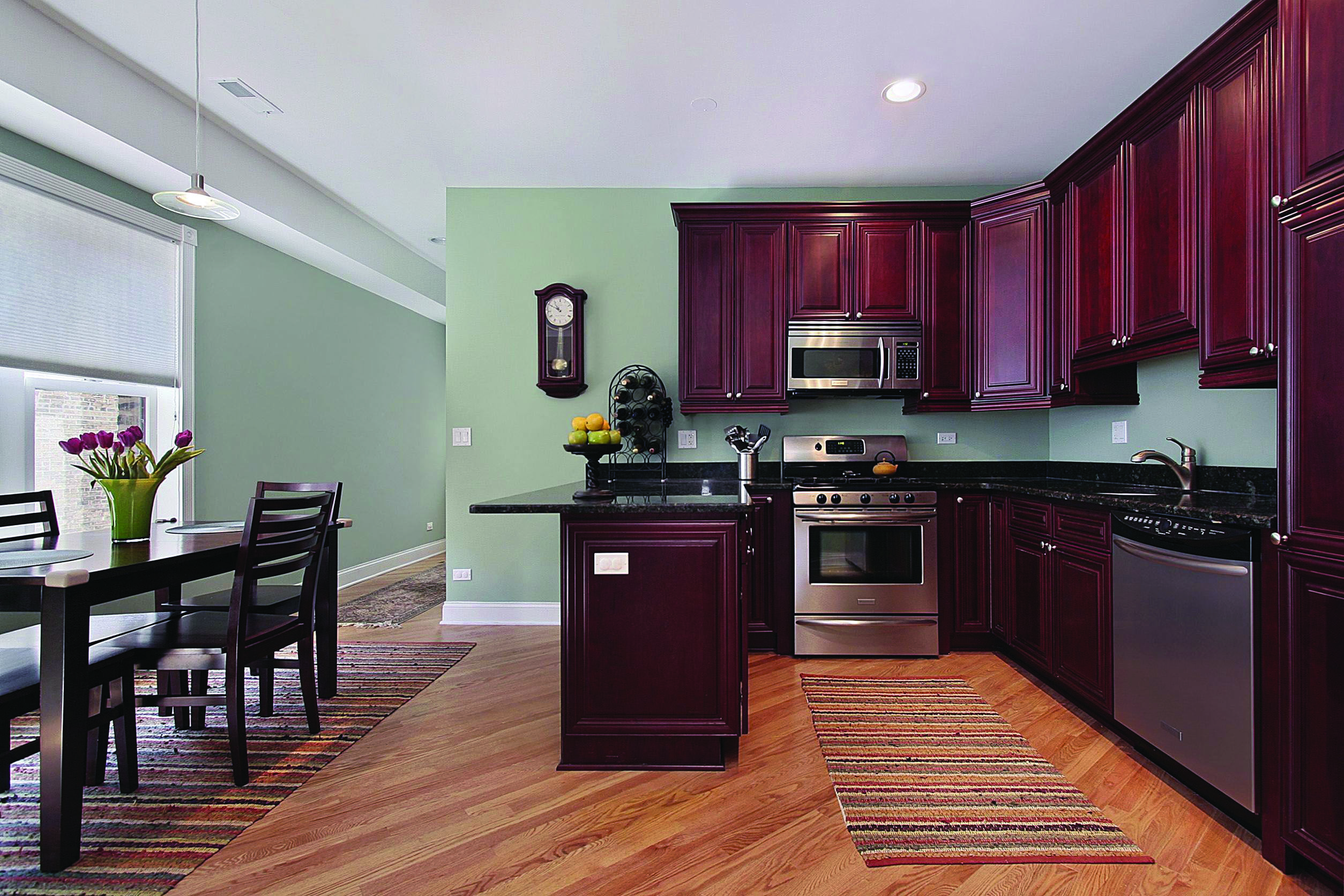 Good Fake Wood Flooring Engineered To Refresh Your Home Green Kitchen Walls Cherry Cabinets Kitchen Kitchen Wall Colors