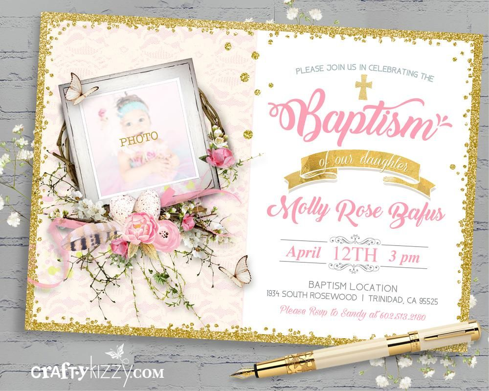 Pink and Gold Girl Baptism Invitation - Girls Christening Invitation ...