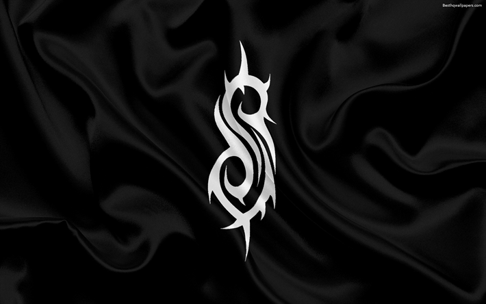 Download wallpapers Slipknot, logo, black silk flag