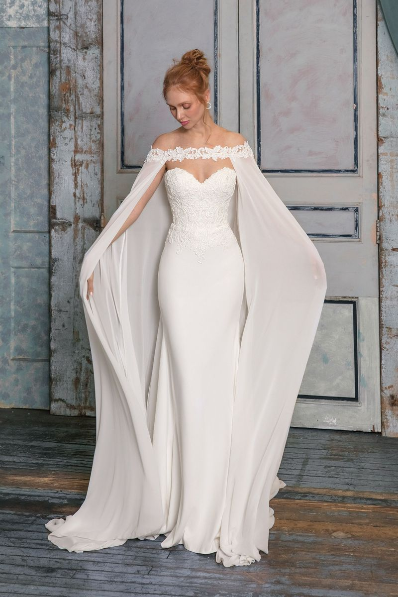 ac5f94aa3b Justin Alexander Signature style 99019 Crepe Fit and Flare Gown with  Chiffon Cape