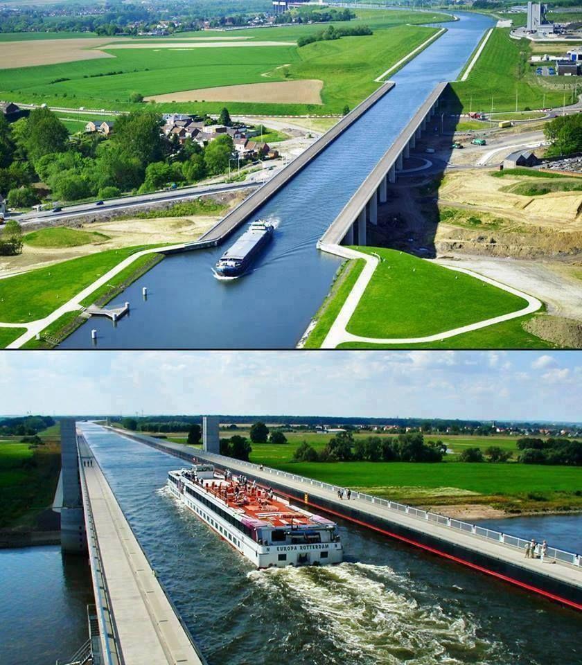 Magdeburg Water Bridge, Germany https://en.wikipedia.org/wiki/Magdeburg_Water_Bridge