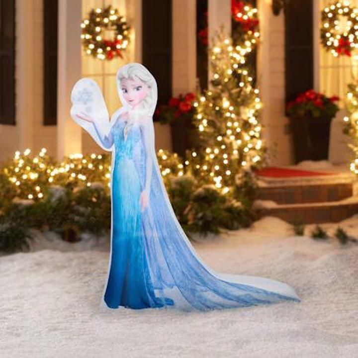 Disney Frozen 5\u0027 ELSA Snowflake Airblown Christmas Inflatable Yard - inflatable outdoor christmas decorations