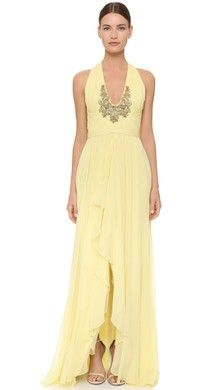 Marchesa Notte Chiffon Gown with Draped Bodice | SHOPBOP