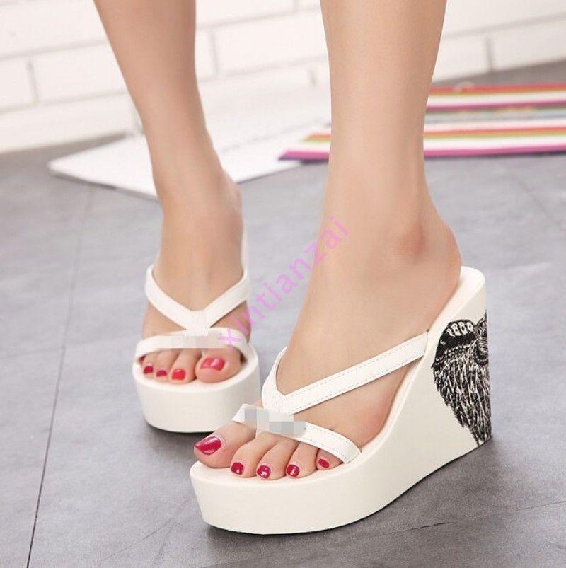 8ff270086 Hot Summer Womens Printing Beach Platform Flip Flop Thong High Wedge Heel  Sandal