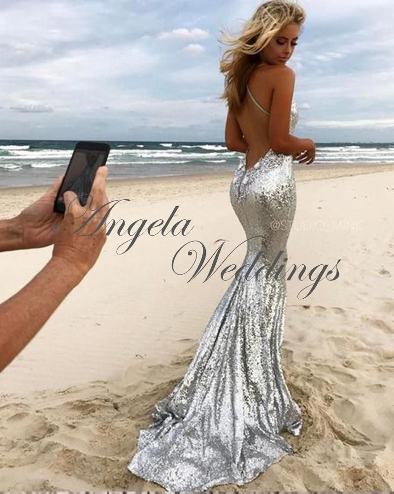4d27e43b4862 Silver Bling Bling Mermaid Prom Dresses Backless Beach Dress  Promshoes