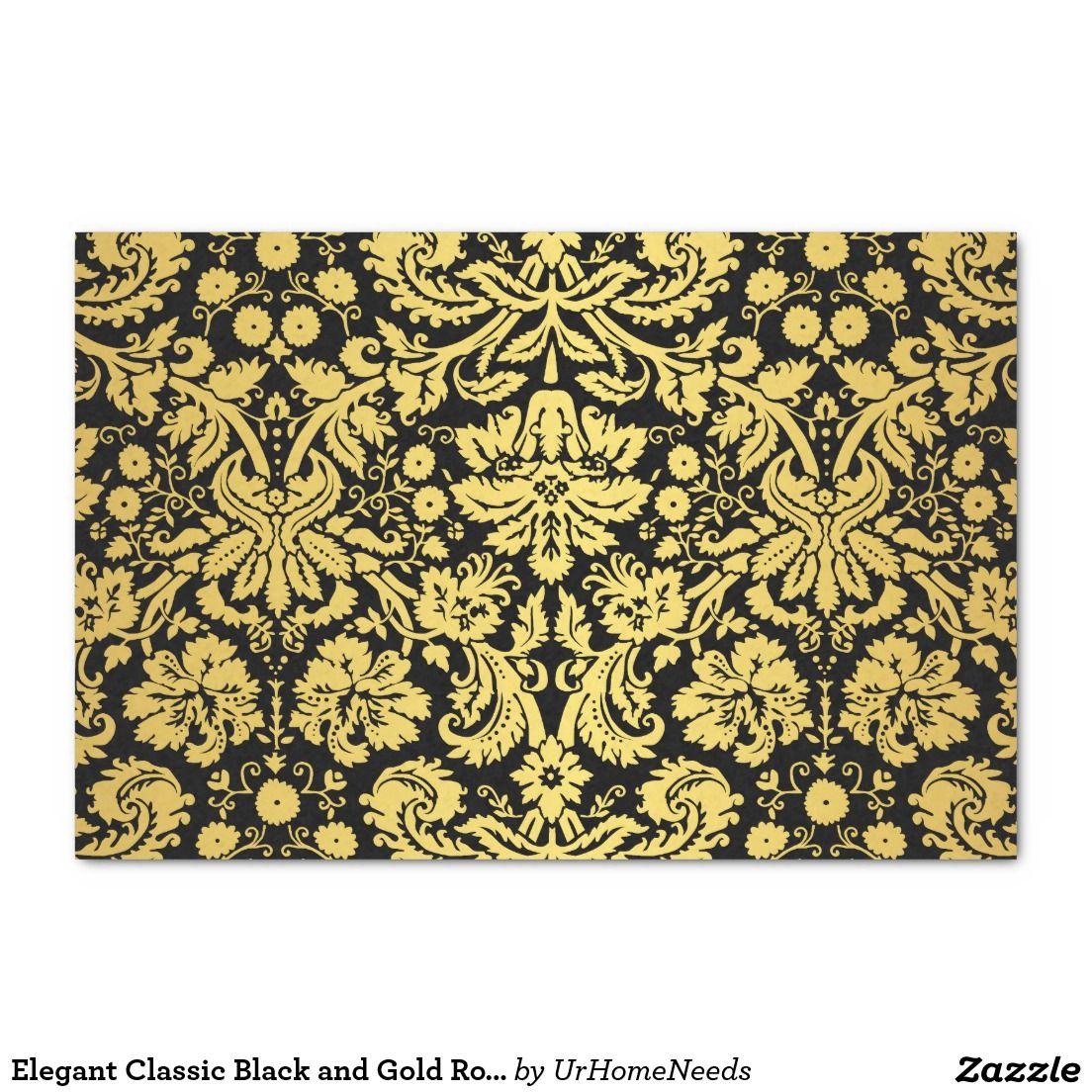 "Elegant Classic Black and Gold Royal Damask 10"" X 15"" Tissue Paper"
