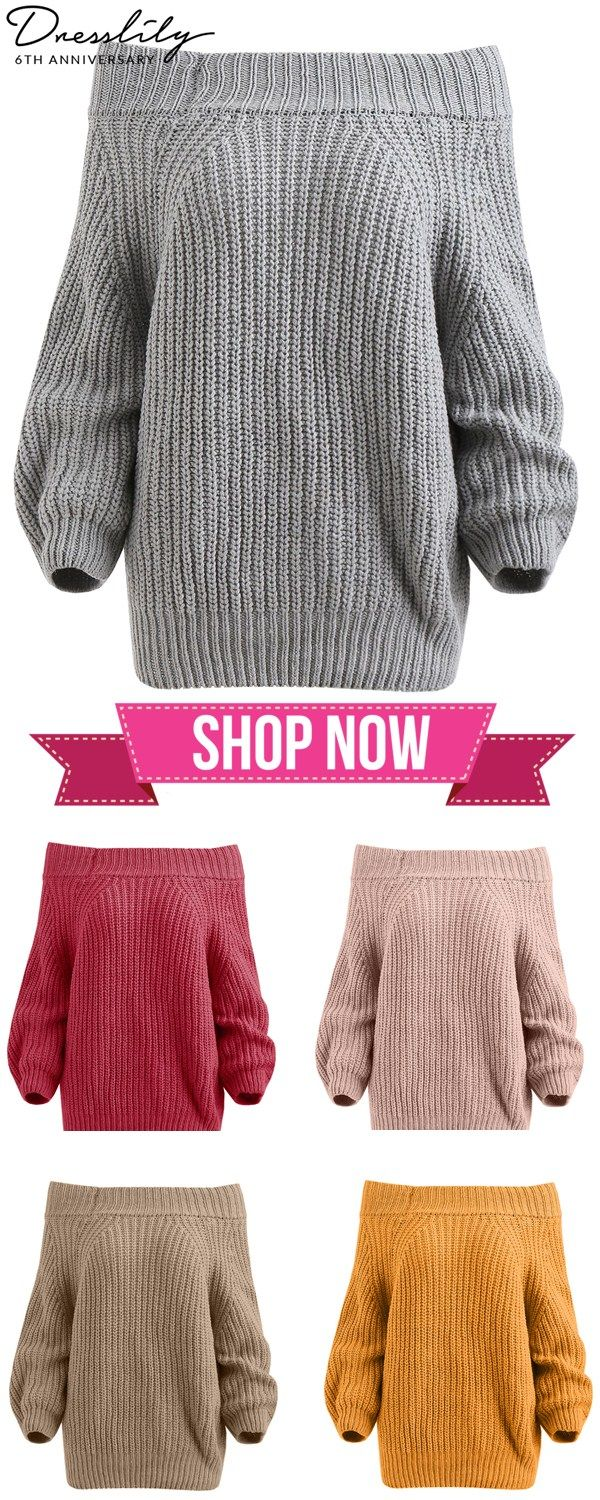 1cb0831286 Buy 1 get 15% off. Chunky Off The Shoulder Pullover Sweater.  dresslily   sweaters