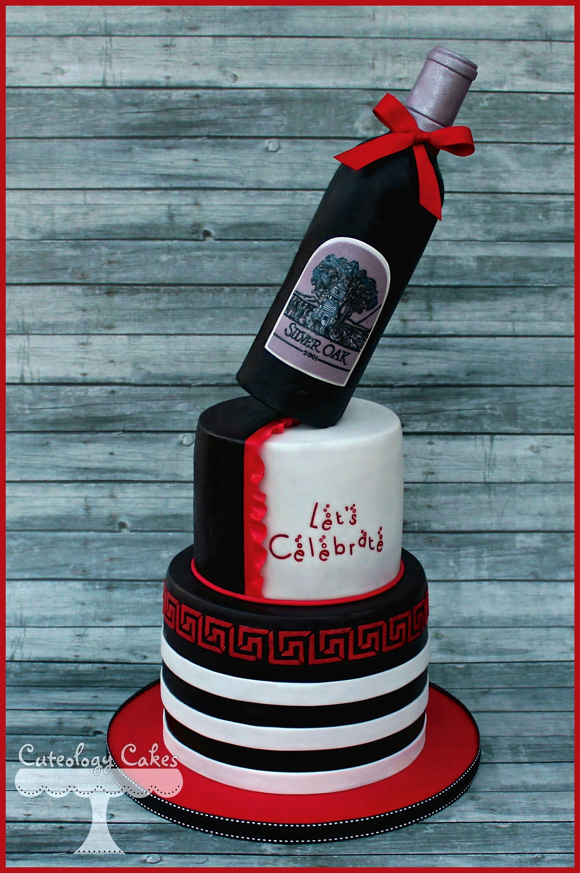 Black White And Red Wine Bottle Cake Facebookilove