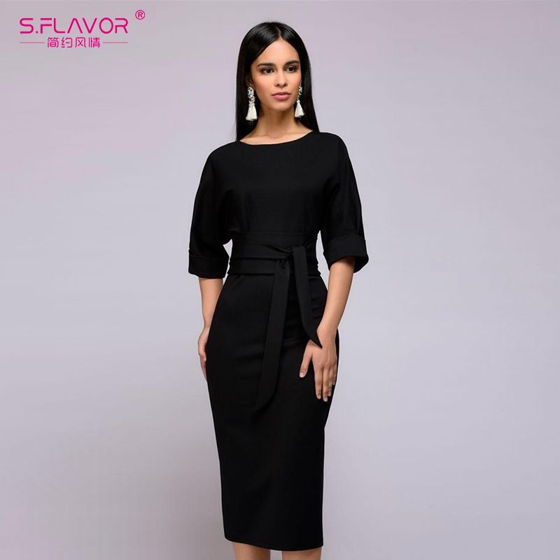 S.FLAVOR simple straight dress for office Ladies 2018 Spring new O-neck  half sleeve knee-length vestidos with belt casual dress 529ccc5af7de