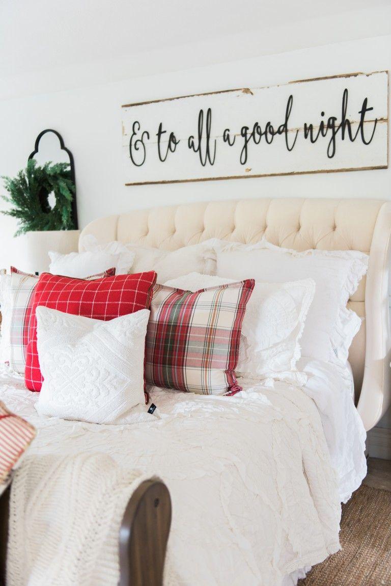 A Cozy Cheerful Farmhouse Christmas Bedroom A