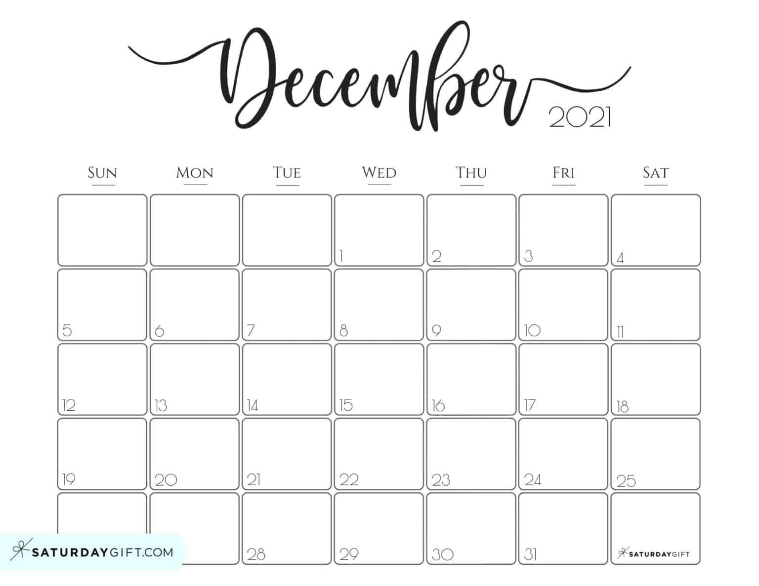Elegant 2021 Calendar by SaturdayGift - Pretty Printable ...