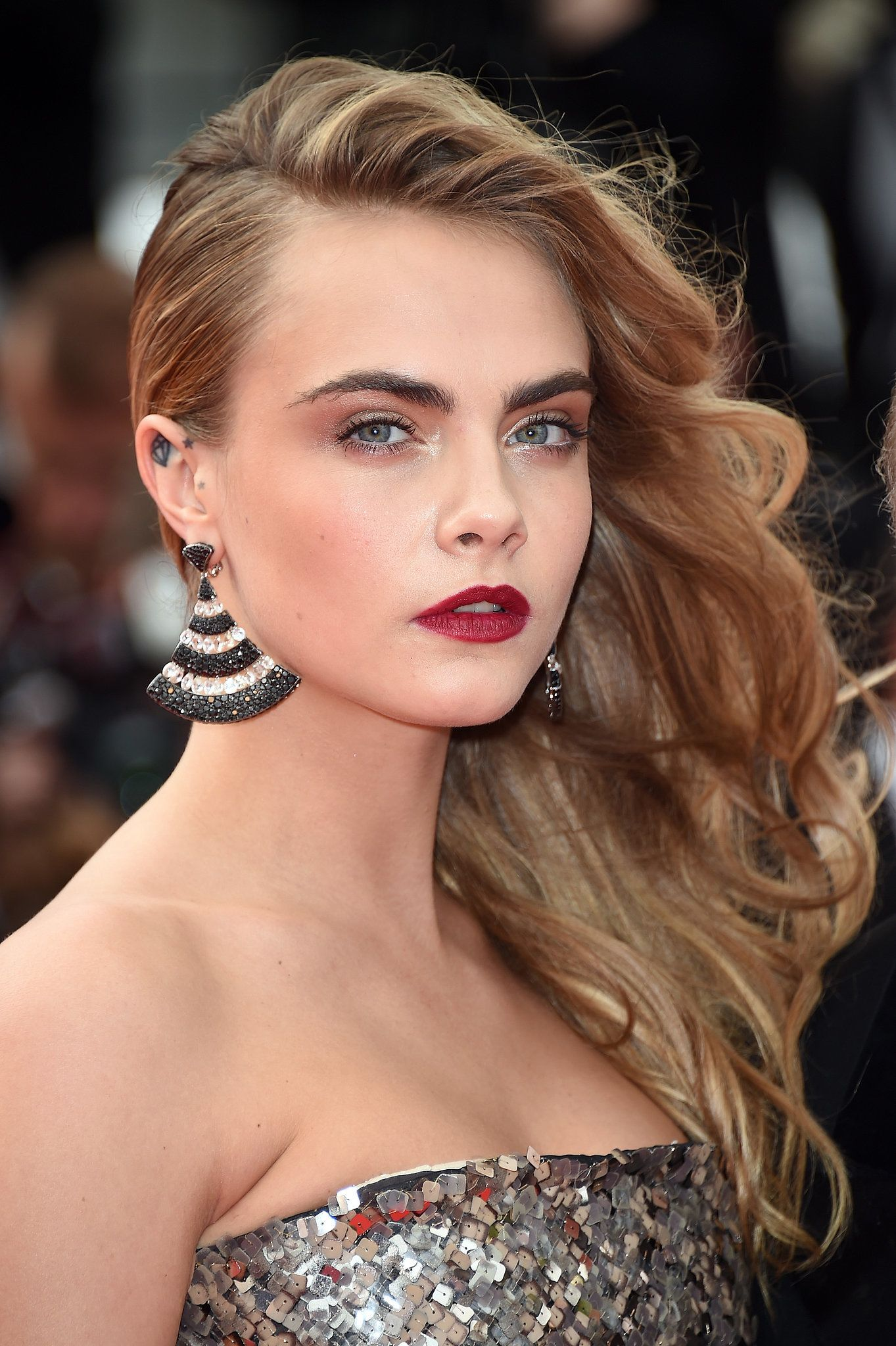 Image result for cara divelgine in side swept curls
