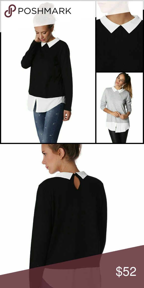 2-in-1 Black Sweater with White Blouse Super soft black sweater with the illusion of a white crepe blouse underneath (Attached) Adorable,  pointed collar adds to the timeless style. Size L fits US size 10. Q2 Store Sweaters Crew & Scoop Necks