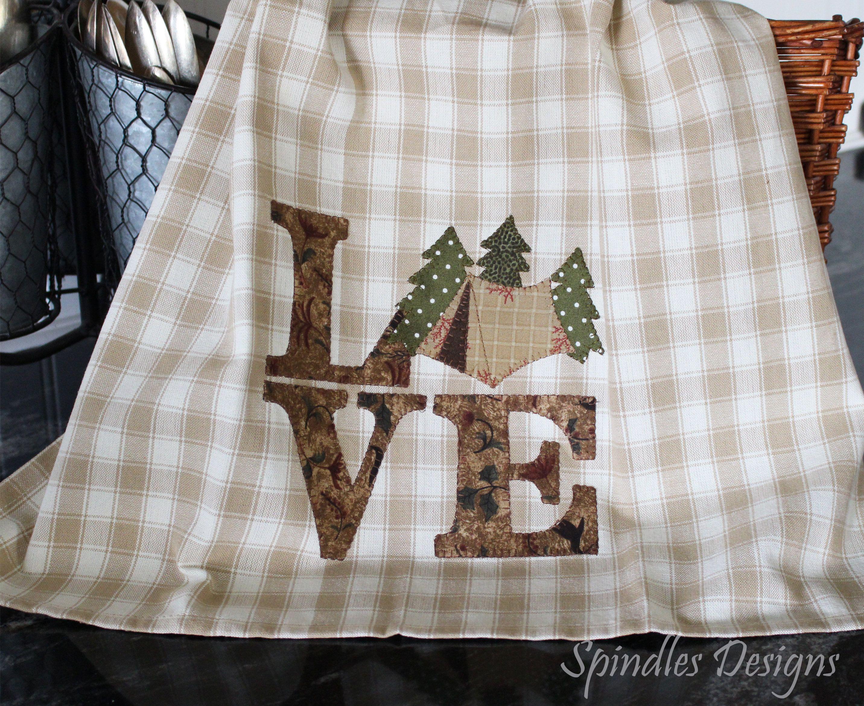 Tea Towel Love Camping Towel Kitchen Towel Applique Towel
