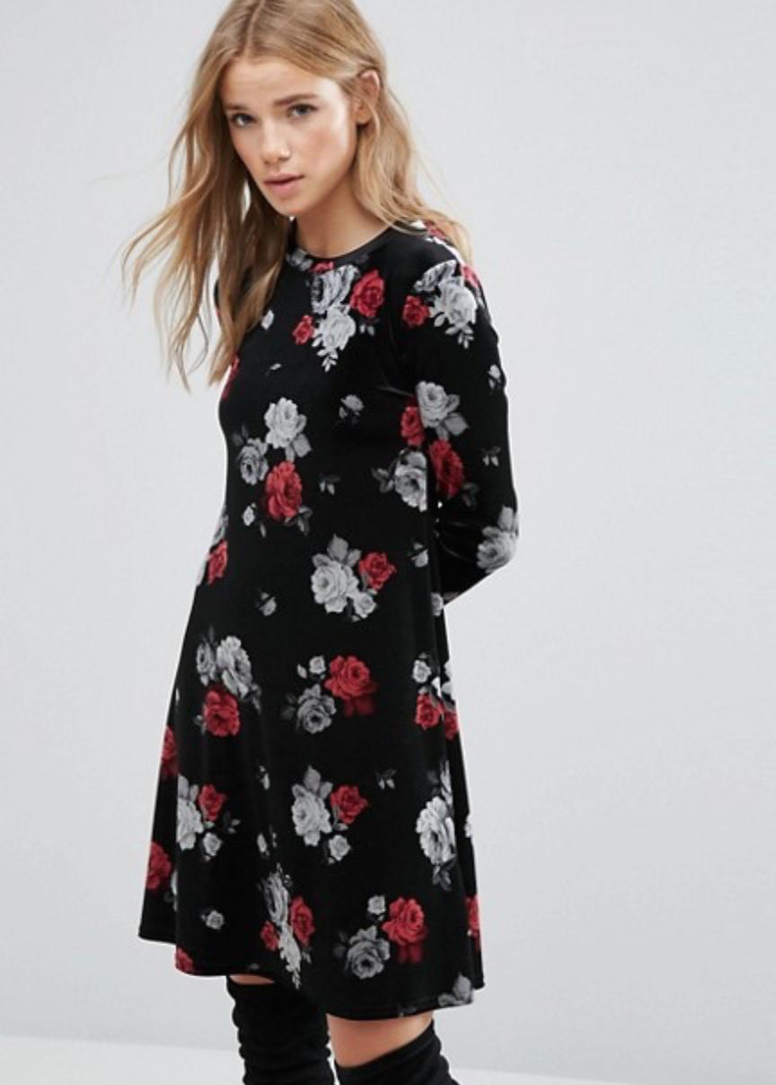 New look floral velvet swing dress fashion pinterest swings