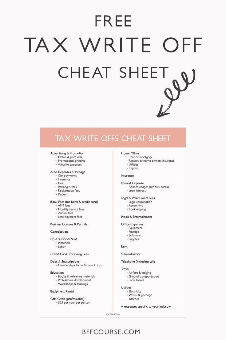 how to write a tax write off cheat sheet  Business tax, Tax write