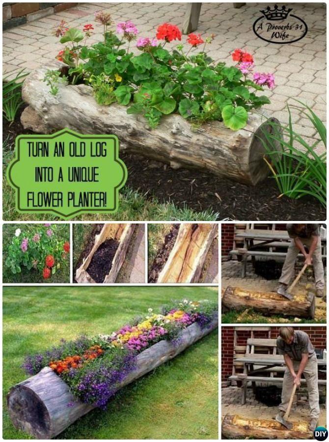 DIY Hollow Log Planter Instructions 20 DIY Upcycled