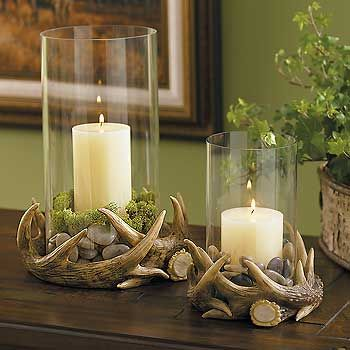 Antler hurricane lamp might look nice w bear skin rug for Innendekoration wil