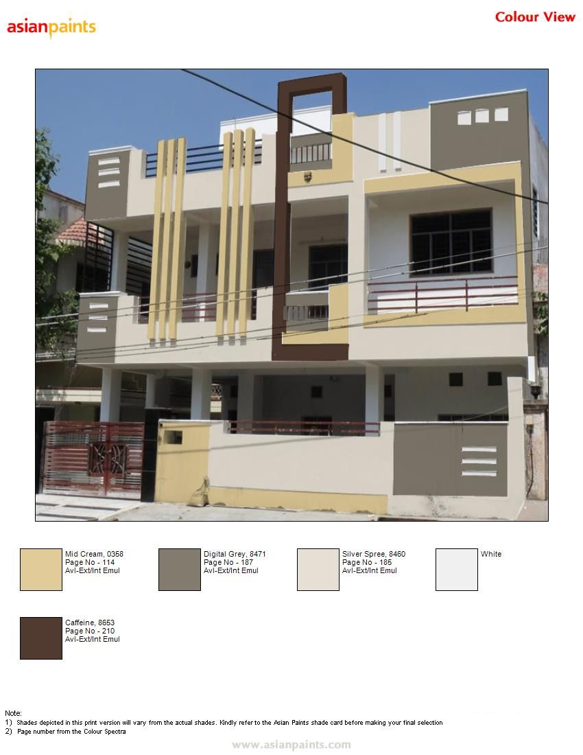 Asian Paint Front Elevation : Colour scheme suggested by me to dr sourabh neutral