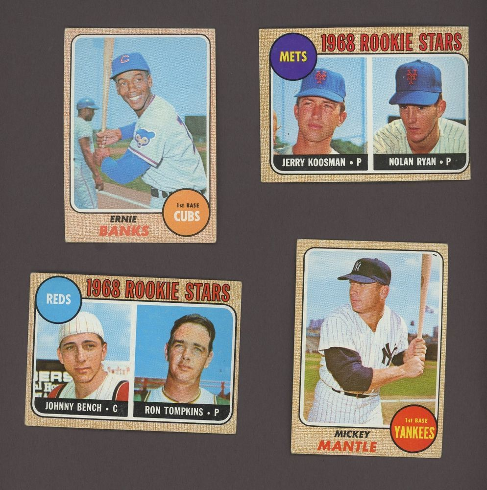 1968 Topps Baseball Complete Set 598 W Mantle Ryan Bench