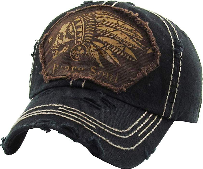 38781bd4fcbfc KBVT-1058 BLK Indian Head Vintage Baseball Cap Distressed Dad Hat at Amazon  Men s Clothing store