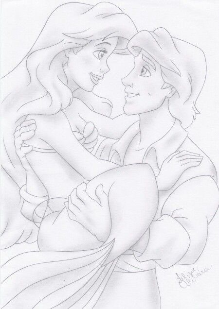 Disney Princess Ariel And Eric Drawings