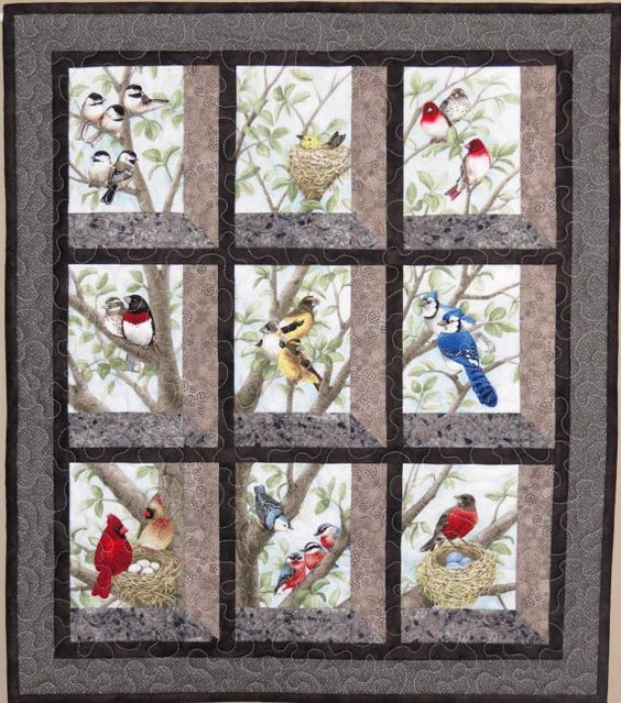 Quilted And Pieced Wall Hanging Attic Window Birds In By
