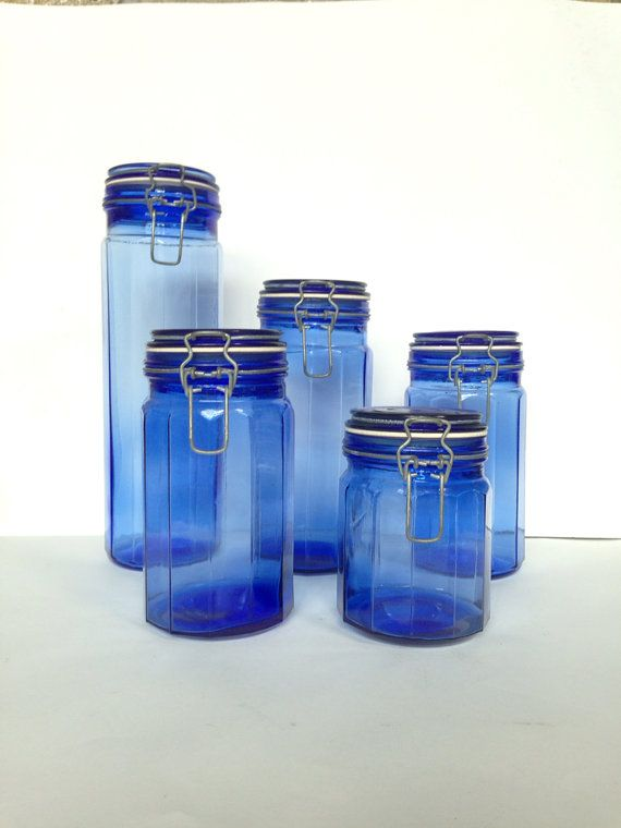 Vintage Cobalt Blue Glass Canisters 5 Piece Set Kitchen Storage Containers Hinged Lid