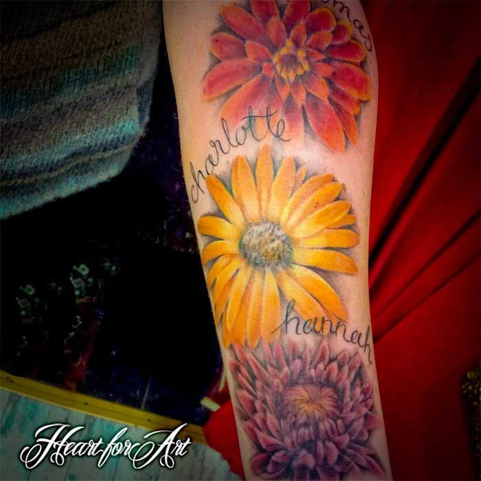 Tattoo Of Birth Flowers And Names Of Children Sleeve Birth