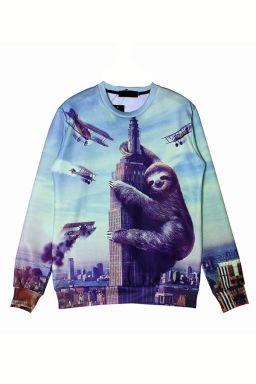 dbbaef199 Blue Cool Ladies King Kong Sloth Pullover Printed Sweatshirt | Nerds ...